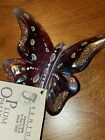 Fenton Hand Painted Plum Opalescent Butterfly on Brass Stand HTF