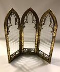 GOTHIC THREE PANEL GLASS SCREEN Antique Style 12 Panels New