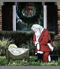 Christmas Yard Display Outdoor Nativity Set Kneeling Santa ons N17