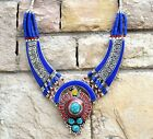 Nepal Tibetan Silver Blue Bib Necklace Turquoise Nepalese Ethnic Coral Amber