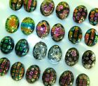 24 pc LOT 12 Pair Tiny Oval Dichroic Glass Earring Cabochon Cab 17 mm MULTICOLOR
