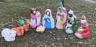 General Foam Blow Mold Yard Nativity Set 9 Piece Mary Joseph Wiseman Camel Cow