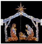 Lights Gold Nativity Scene Display Sculpture Outdoor Christmas Yard Star Holy