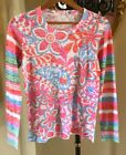 New WHIMSEY ROSE Pink Multi Floral Striped Long Slv Thermal Burnout Top NWOT S