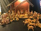 Vintage 21 Piece Nativity Set Fontanini Italy 1983 Creche Manger Wise Men Angel