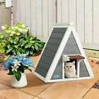 Wooden Cat House Weatherproof Pet Kitten Condo Shelter w 2 Doors Easy Access