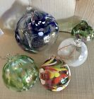 Various Hand Blown Friendship Witch Balls Ornaments Large Medium Small Lot Of 5