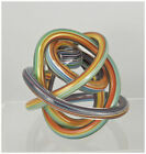 Beautiful Art Glass Twisted Ribbon Abstract Knot Sculpture Multi Colored