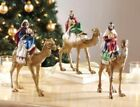 Set of 3 Wisemen Christmas Nativity Magi Kings on Camels 9 Resin
