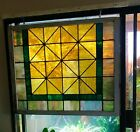 Antique stained glass window original vintage arts and crafts salvage