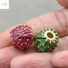 Marquise Gemstone Ruby Emerald Beads Gold Plated 925 Sterling Silver Finding