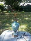 Antique Chinese Cloisonne Enamel Blue Vase Converted Table Lamp Oriental
