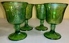 Indiana Glass 4 Iridescent Green Carnival Harvest Grape 8 ounce Goblets