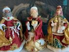 Vintage BEAUTIFUL Fabric Mache Christmas Nativity Wise Men Jeweled
