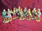 Vintage Fontanini Italy Nativity village 5 scale 9 figure lot Drummer Bagpipe +