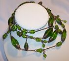 Vintage Art Deco Green Glass Necklace Dangles Estate Jewelry