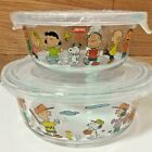 Pyrex Peanuts Snoopy Storage Container Round Type 2 Size 2 Set Heat Resistant