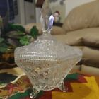 Vintage Lead Crystal Clear Cut Glass Candy Dish three Footed with Lid and Finial