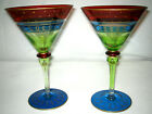 2 pc MURANO VENETIAN GLASSWARE Martini Margarita GLASSES HAND PAINTED 8 LOOK