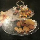 MIKASA 2 Tier TIDBIT SERVER TRAY Glass Crystal RC140 009 MADE IN JAPAN