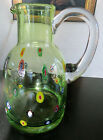 MURANO MILLEFIORI Italian Large 95 Tall Green Art Glass PITCHER JUG