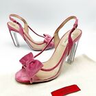 895 Valentino Dolly Bow Glass Glow PVC Velvet Trim Slingback Pumps Sandals 39