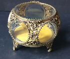 WOW Vintage Gold ROSES Jewelry Box Casket Antique HOLLYWOOD REGENCY Glass