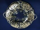 Silver City Silver Overlay Clear Glass Handled Tray Grapes  Vines SCI11