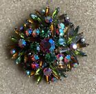 XL Austrian Multi Colored Glass Showy Gorgeous Pin MINT Unsigned