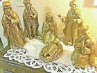 MARKED DOWN NATIVITY 6 GORGEOUS MATTE GOLD LEAF FIGURES w GREAT DETAILING