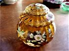French or Bohemian Amber Glass Enameled Floral Lidded Jar