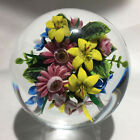 Rick Ayotte Glass Paperweight with Floral Bouquet Signed 2003