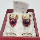 2 Galleria San Marco Glass Murano Factory Amber Red Gold Wine Glasses