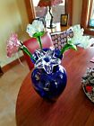 4 20 Blown Glass Flowers in a Large Cobalt Blue Vase Area 12 x 19 1060