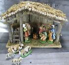 Vintage 70s Sears Nativity Set Wood Manger Creche Ceramic Figures 12 Pc Taiwan