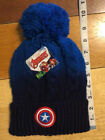 Marvel Avengers Captain America Blk Fade Blue Beanie With Poof OSFM NWT- Toddler