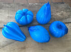 Gorgeous Vintage Murano Italian Glass Fruit and Vegetable Set Electric Blue