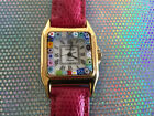 Ladies Venice Murano Glass Pink Wristwatch Made in Italy Square Shape RARE