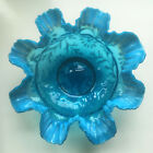 Antique Pre Fenton Blue Opalescent Daisy Fern Glass Brides Basket Northwood