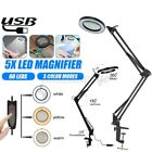 Large Long 5X Magnifying Glass Desk Lamp Magnifier USB LED Light with Clamp US