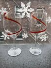 Pier 1 set of 2 Red Swirl Swirline Wine Water Goblets 8 7 8 Discontinued