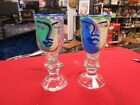 Two 2 William Katherine Bernstein Art Glass Face Art Wine Water Stem Signed