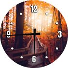 Autumn Leaves Boardwalk in Forest Large Clock Wall Art 12 inch Home Decor