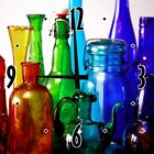 Kitchen 12 inch Wood Wall Clock Color Glass Bottles Decor for Blue Green Red