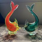 Vintage Mid Century Murano Glass Fish Pair