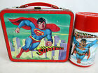 Vintage 1978 Superman metal lunch box and thermos set by Aladdin