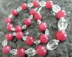 Art Deco Necklace Pink Glass  Crystal Bead Necklace 24 Unusual
