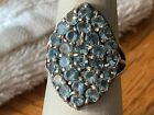 Vintage Sterling Silver 925 Ring with Multiple Blue Stones Size 85
