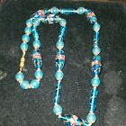 Vintage Venetian Murano Glass Blue Pink Gold Foil Wedding Cake Bead Necklace 28
