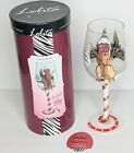 LOLITA Cheery Mismas Christmas Hand Painted Wine Glass Retired Snowman Reindeer